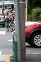 June 5, 2012 - Tokyo, Japan - A Japanese man is seen riding a bicycle in downtown Tokyo. (Photo by Yumeto Yamazaki/AFLO)