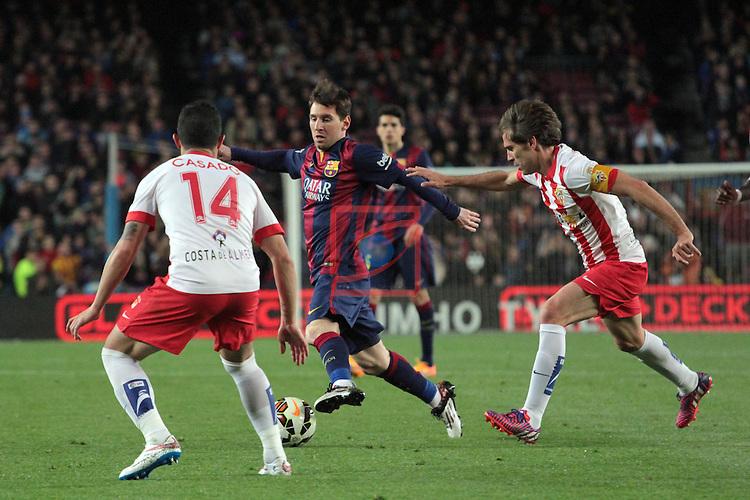 League BBVA 2014/2015. Game: 30.<br /> FC Barcelona vs UD Almeria: 4-0.<br /> Casado, Lionel Messi &amp; Corona.
