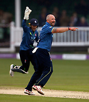 Darren Stevens of kent celebrates taking the wicket of Banton during the Royal London One Day Cup game between Kent and Somerset at the St Lawrence Ground, Canterbury, on May 29, 2018