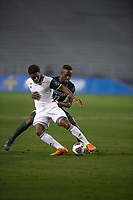 Santa Barbara, CA - Friday, December 7, 2018:  Akron men's soccer defeated Michigan State 5-1 in a semi-final match in the 2018 College Cup.  Michigan State defends Akron's David Egbo.