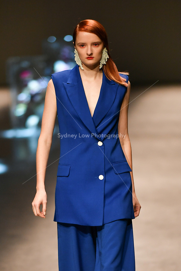 8 September 2017, Melbourne - A model wearing a design by Bianca Spender at the Closing Runway parade during the Melbourne Fashion Week in Melbourne, Australia. (Photo Sydney Low / asteriskimages.com)