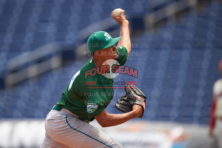 Daytona Tortugas relief pitcher Brennan Bernardino (14) during a game against the Clearwater Threshers on April 20, 2016 at Bright House Field in Clearwater, Florida.  Clearwater defeated Daytona 4-2.  (Mike Janes/Four Seam Images)