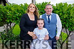 Courtney Raymond from Scoil Eoin NS receiving her First Holy Communion in St Brendans Church on Saturday with her parents Colette and Patrick Raymond.