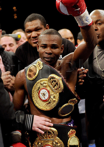 Guillermo Rigondeaux (CUB),..JANUARY 20, 2012 - Boxing :..Guillermo Rigondeaux of Cuba celebrates with his champion belt after winning the WBA super bantamweight title bout at the Palms Casino Resort in Las Vegas, Nevada, United States.