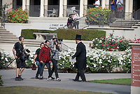 Occidental College is visited by Alec Baldwin on April 1, 2015 as part of an April 1st campaign by Chevy called #bestdayever. Baldwin surprised a class at Oxy in an Abraham Lincoln costume and taught part of the class.<br /> (Photo by Marc Campos, Occidental College Photographer)