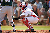 Illinois State Redbirds catcher Jean Ramirez (27) during a game against the Michigan State Spartans on March 8, 2016 at North Charlotte Regional Park in Port Charlotte, Florida.  Michigan State defeated Illinois State 15-0.  (Mike Janes/Four Seam Images)