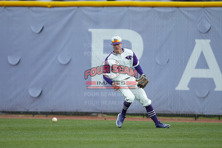 High Point Panthers right fielder Evan Bergman (10) tracks down the baseball during the game against the Campbell Camels at Williard Stadium on March 16, 2019 in  Winston-Salem, North Carolina. The Camels defeated the Panthers 13-8. (Brian Westerholt/Four Seam Images)