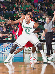 North Texas Mean Green forward Kedrick Hogans (24) in action during the game between the Louisiana Lafayette Ragin Cajuns and the University of North Texas Mean Green at the North Texas Coliseum,the Super Pit, in Denton, Texas. Louisiana Lafayette defeats UNT 57 to 53.