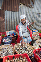Bangladesh, Cox's Bazar. The Rohingya, a Muslim ethnic group  denied citizenship in Burma/Myanmar have escaped persecution from Burmese militants in their country. There are up to 500,000 refugees and migrants living in makeshift camps in Cox's Bazar. Man selling fish has been here about nine years.