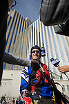 Shane McConkey, a long time star of ski action movies who pioneered ski BASE jumping off giant cliffs in Europe, gives and interview after makeing history as he performs the first-ever urban Ski-BASE jump off the roof of the Silver Legacy hotel casino in downtown Reno, Nev., Saturday Nov. 17, 2007. The stunt was to promote the local premier of the 2007 Warren Miller ski movie Playground and to raise money for the Make-a-Wish foundation, which helps make wishes come true for seriously ill children.