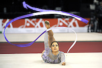 Viktoria Soos of Hungary waves with ribbon at 2009 Budapest World Cup on March 7, 2009 at Budapest, Hungary.  Photo by Tom Theobald.