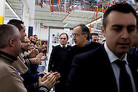 Torino: l'amministratore delegato FIAT Segio Marchionne saluta gli operai dello stabilimento Maserati Gianni Agnelli Plant durante l'avvio della produzione della nuova Maserati Quattroporte...Turin: Sergio Marchionne CEO of FIAT group greets the workers in the new Maserati plant dedicated to Gianni Agnelli. .It will produce the new model of Maserati Quattroporte.
