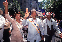 New York, NY - 13 June 1993 - NYC  Mayor David Dinkins marches with Congresswoman Nydia Velasquez in the Puerto Rican Day Parade.
