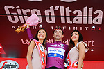 Elia Viviani (ITA) Quick-Step Floors retains the sprints Maglia Ciclamino on the podium at the end of Stage 5 of the 2018 Giro d'Italia, running 153km from Agrigento to Santa Ninfa (Valle del Belice), Sicily, Italy. 9th May 2018.<br /> Picture: LaPresse/Gian Mattia D'Alberto | Cyclefile<br /> <br /> <br /> All photos usage must carry mandatory copyright credit (&copy; Cyclefile | LaPresse/Gian Mattia D'Alberto)