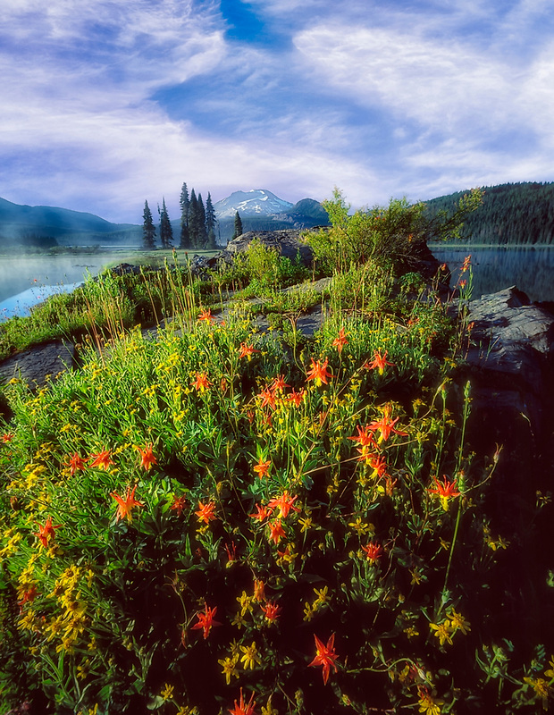 Sparks Lake, South sister Mountain and wildflowers