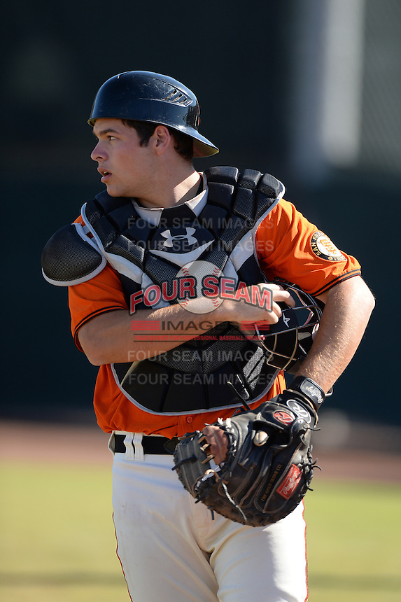 San Francisco Giants catcher John Riley (77) during an Instructional League game against the Chicago Cubs on October 18, 2013 at Giants Baseball Complex in Phoenix, Arizona.  (Mike Janes/Four Seam Images)