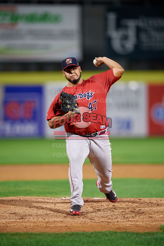 Portland Sea Dogs starting pitcher Dedgar Jimenez (47) delivers a pitch during a game against the Binghamton Rumble Ponies on August 31, 2018 at NYSEG Stadium in Binghamton, New York.  Portland defeated Binghamton 4-1.  (Mike Janes/Four Seam Images)