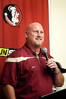 TALLAHASSEE, FLA. 2/2/11-FSUSIGN020211CH-Linebackers Coach Greg Hudson speaks during the 2011 national signing day war party in Tallahassee...COLIN HACKLEY PHOTO