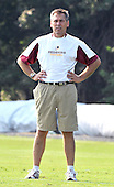 Ashburn, VA - July 20, 2008 -- Head Coach Jim Zorn watches his quarterbacks as they run through their drills during the morning session of the opening day of the 2008 Washington Redskins training camp at Redskins Park in Ashburn Virginia on Sunday, July 20, 2008..Credit: Ron Sachs / CNP