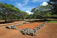 Ruins of the church in the archaeological centre of the Parque Nacional Historico y Arqueologico de La Isabela, or Historical National Park of La Isabela, one of the oldest European settlements in the New World, in Luperon province, on the North coast of the Dominican Republic, in the Caribbean. The town of La Isabela was founded in 1493 by Christopher Columbus and a fort, houses, church, warehouses, and an arsenal were built, but the settlement was abandoned in 1496 due to hurricane damage. Picture by Manuel Cohen