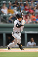 Shortstop Hoy Jun Park (1) of the Charleston RiverDogs bats in a game against the Greenville Drive on Friday, July 28, 2017, at Fluor Field at the West End in Greenville, South Carolina. Charleston won, 6-1. (Tom Priddy/Four Seam Images)