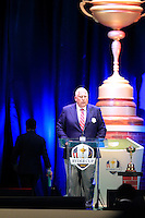 PGA of America President Allen Wronowski on stage at the Closing Ceremony after Sunday's Singles Matches of the 39th Ryder Cup at Medinah Country Club, Chicago, Illinois 30th September 2012 (Photo Colum Watts/www.golffile.ie)