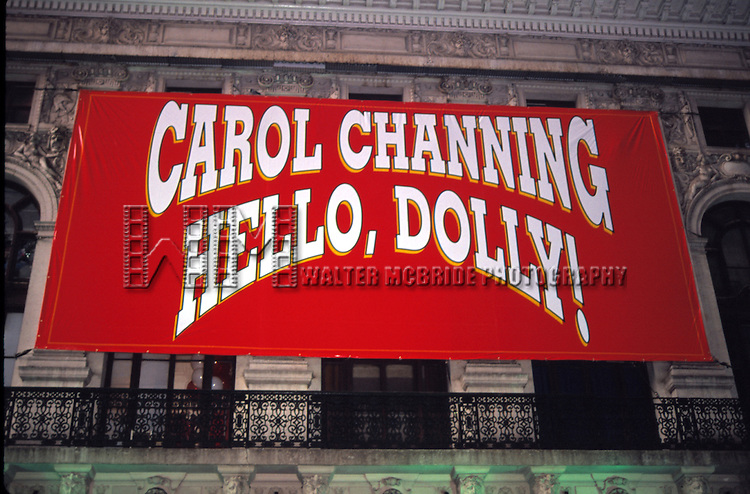 Theatre Marquee for Carol Channing starring in a revival of the JERRY HERMAN Musical 'HELLO, DOLLY!' at the Lunt Fontaine Theatre in New York City on 09/01/1995