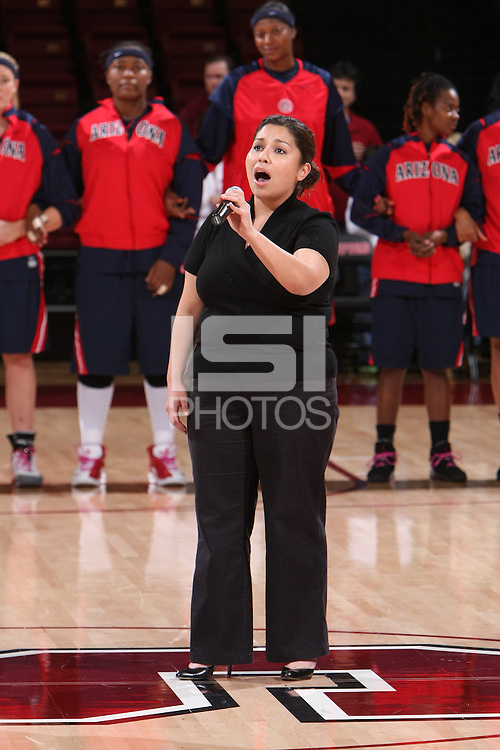 14 February 2008: The national anthem during Stanford's 69-46 win over Arizona at Maples Pavilion in Stanford, CA.