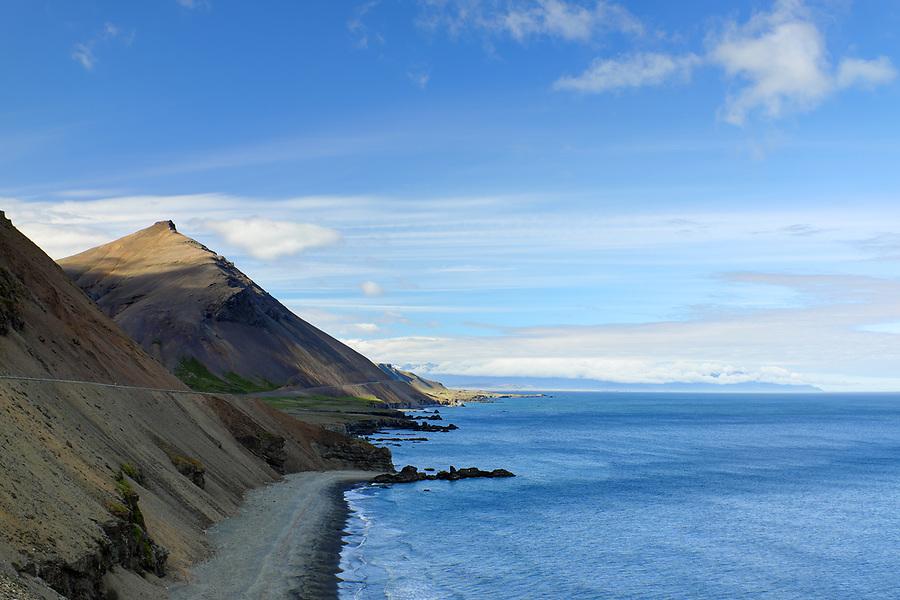 Iceland's Ring Road running along Lækjavik Coastline and through Lækjavik nature reserve, East Iceland, Iceland