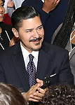 """Chancellor Richard Carranza, of the New York City Department of Education  backstage before The Rockefeller Foundation and The Gilder Lehrman Institute of American History sponsored High School student #EduHam matinee performance of """"Hamilton"""" at the Richard Rodgers Theatre on 4/03/2019 in New York City."""