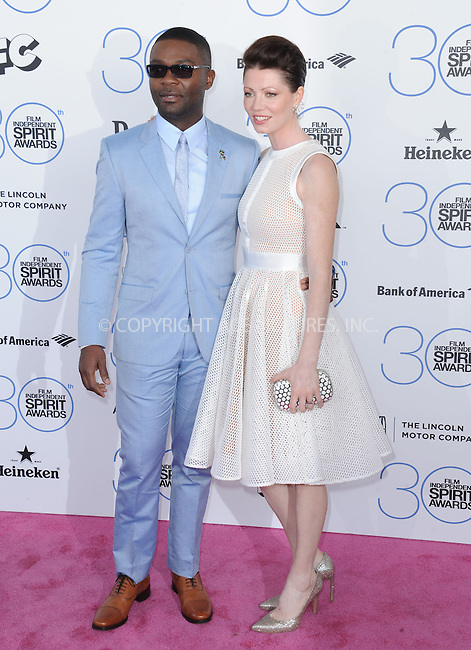WWW.ACEPIXS.COM<br /> <br /> February 21 2015, LA<br /> <br /> David Oyelowo and Jessica Oyelowo arriving at the 2015 Film Independent Spirit Awards at Santa Monica Beach on February 21, 2015 in Santa Monica, California.<br /> <br /> By Line: Peter West/ACE Pictures<br /> <br /> <br /> ACE Pictures, Inc.<br /> tel: 646 769 0430<br /> Email: info@acepixs.com<br /> www.acepixs.com