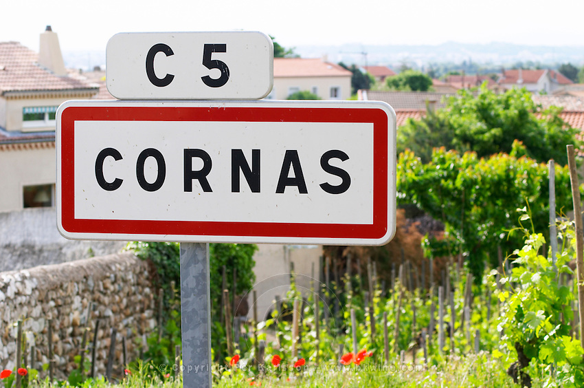 road sign cornas rhone france