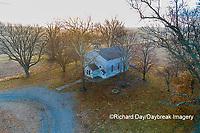 63895-16706 Pleasant Grove Methodist Church at sunrise in fog-aerial-Marion Co. IL