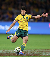 Matt To'omua of the Wallabies kicks a conversion during the Rugby Championship match between Australia and New Zealand at Optus Stadium in Perth, Australia on August 10, 2019 . Photo: Gary Day / Frozen In Motion