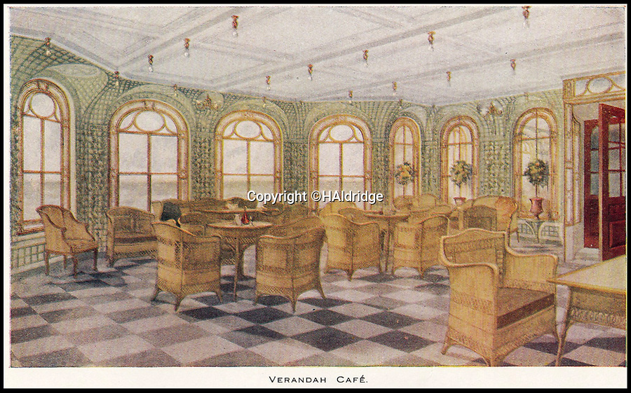 BNPS.co.uk (01202 558833)<br /> Pic: HAldridge/BNPS<br /> <br /> The Verandah cafe.<br /> <br /> A rare holiday brochure for the Titanic has surfaced after 106 years.<br /> <br /> The brochure was specifically aimed at rich first and second class passengers and contained colourful images of the most luxurious parts of the doomed liner.<br /> <br /> It walked the reader through different parts of the 'unsinkable' ship, from the opulent reception room, to the Louis XVI period designed restaurant and the promenade deck.<br /> <br /> The sumptuous state rooms that cost the equivalent of £40,000 to stay in, are featured in the fascinating brochure as is the famous grand staircase that featured heavily in the 1997 movie starring Kate Winslet.