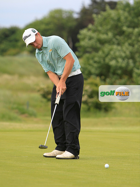 Paul Dunne (Greystones) on the 1st  during Round 2 of the East of Ireland in the Co. Louth Golf Club at Baltray on Sunday 1st June 2014.<br /> Picture:  Thos Caffrey / www.golffile.ie