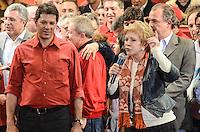 ATENCAO EDITOR IMAGEM EMBARGADA PARA VEICULOS INTERNACIONAIS - SAO PAULO, SP, 20 OUTUBRO 2012 - ELEICOES 2012 - FERNANDO HADDAD - A ministra da Cultura Marta Suplicy (D) fala em comicio do candidato a prefeitura pelo Partido dos Trabalhadores Fernando Haddad que conta tambem com a presenca presidente da Republica Dilma Rousseff e o ex presidente Luiz Inacio Lula da Silva no Ginasio do Caninde na regiao norte da capital paulista, neste sábado, 20. (FOTO: ALEXANDRE MOREIRA / BRAZIL PHOTO PRESS).