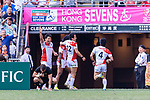 Japan Rugby Squad celebrating a score during the HSBC World Rugby Sevens Series Qualifier Final match between Germany and Japan as part of the HSBC Hong Kong Sevens 2018 on 08 April 2018 in Hong Kong, Hong Kong. Photo by Marcio Rodrigo Machado / Power Sport Images