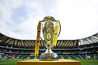 A general view of the Aviva Premiership trophy. Aviva Premiership Final, between Bath Rugby and Saracens on May 30, 2015 at Twickenham Stadium in London, England. Photo by: Patrick Khachfe / Onside Images