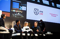 The Netherlands, Rotterdam, 24 January 2015. The 44th International Film Festival Rotterdam - IFFR 2015. The IFFR Live programme at Schouwburg, with screening Atlantic and live streaming QnA to various European cities. QnA afterwards, from left; moderator  Marten Rabarts , cast Fettah Lamara, Thekla Reuten, director Jan-Willem van Ewijk. Photo: 31pictures.nl / (c) 2015, www.31pictures.nl Copyright and ownership by photographer.<br />