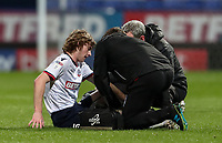 Bolton Wanderers' Luca Connell being treated for an injury which led to his subsequent substitution<br /> <br /> Photographer Andrew Kearns/CameraSport<br /> <br /> The EFL Sky Bet Championship - Bolton Wanderers v Middlesbrough -Tuesday 9th April 2019 - University of Bolton Stadium - Bolton<br /> <br /> World Copyright © 2019 CameraSport. All rights reserved. 43 Linden Ave. Countesthorpe. Leicester. England. LE8 5PG - Tel: +44 (0) 116 277 4147 - admin@camerasport.com - www.camerasport.com