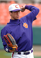 19 February 2006:  Tyler Colvin (21) of the Clemson Tigers prior to game three in a series between James Madison University and Clemson University at Doug Kingsmore Stadium, Clemson, S.C. (Tom Priddy/Four Seam Images)