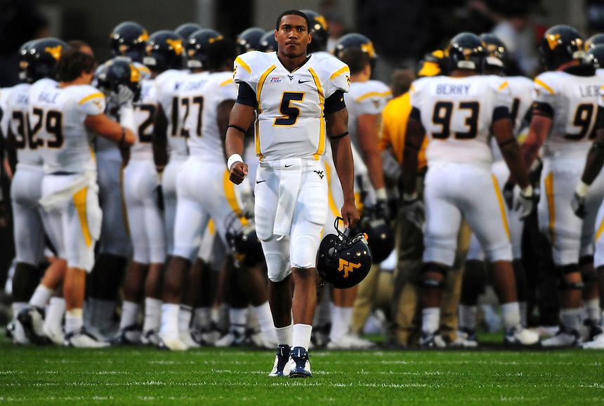 18 September 08: West Virginia quarterback Pat White prior to a game against Colorado. The Colorado Buffaloes defeated the West Virginia Mountaineers 17-14 in overtime at Folsom Field in Boulder, Colorado. For Editorial Use Only.