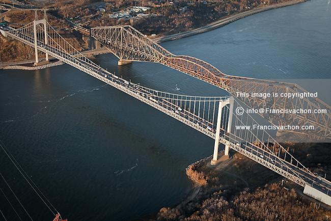 The Pont Pierre Laporte bridge and the Pont de Quebec bridge in Quebec city in this aerial photo November 11, 2009.