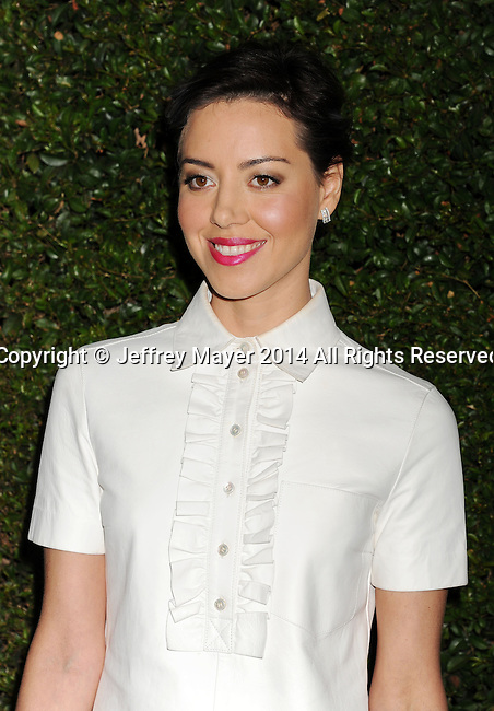 BEVERLY HILLS, CA- OCTOBER 02: Actress Aubrey Plaza arrives at the Michael Kors Hosts Launch Of Claiborne Swanson Frank's 'Young Hollywood' Portrait Book at a private residence on October 2, 2014 in Beverly Hills, California.