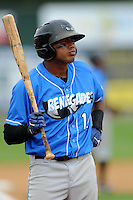 Hudson Valley Renegades infielder Darryl George #14 during a game versus the Lowell Spinners at LeLacheur Park in Lowell, Massachusetts on August 18, 2013.  (Ken Babbitt/Four Seam Images)