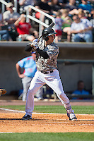 Brian Fletcher (21) of the Birmingham Barons at bat against the Tennessee Smokies at Regions Field on May 3, 2015 in Birmingham, Alabama.  The Smokies defeated the Barons 3-0.  (Brian Westerholt/Four Seam Images)