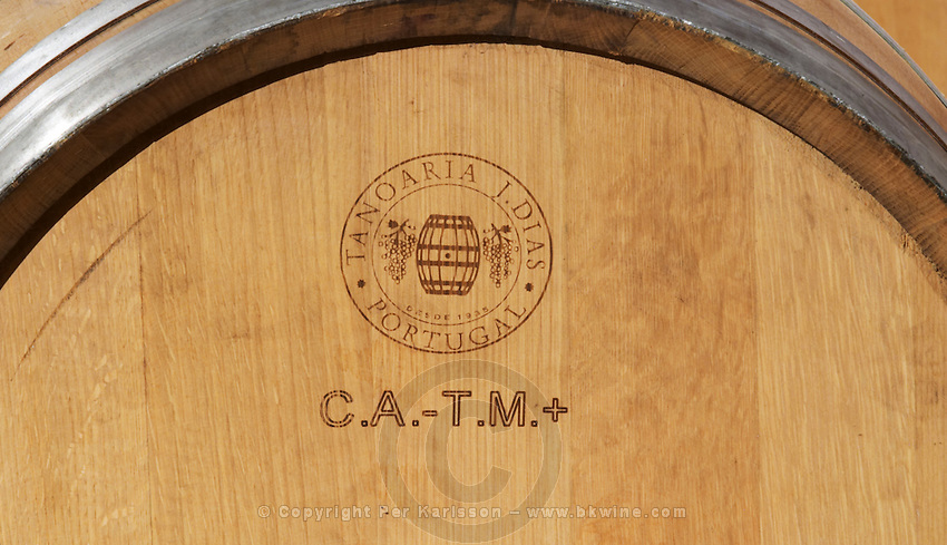 Oak barrel with stamp Tanoaria J Dias Portugal. Portuguese barrique with code markings for tasting. Matusko Winery. Potmje village, Dingac wine region, Peljesac peninsula. Matusko Winery. Dingac village and region. Peljesac peninsula. Dalmatian Coast, Croatia, Europe.