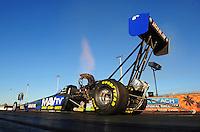 Jan. 19, 2012; Jupiter, FL, USA: NHRA top fuel dragster driver Brandon Bernstein during testing at the PRO Winter Warmup at Palm Beach International Raceway. Mandatory Credit: Mark J. Rebilas-