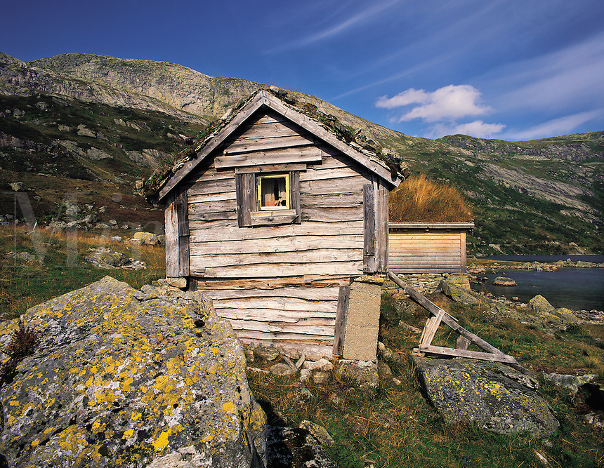 Traditional timber-built mountain huts at Nystolen, Barddalen, Norwa